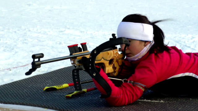 HD: Women shooting at biathlon competition video