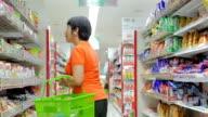 Women shopping in supermarket,Slow motion video