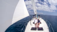 WS Women Sunbathing On The Sailboat video