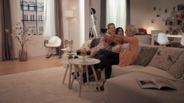 Women taking selfies video
