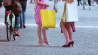 SLO MO Women talking with shopping bags in hands video