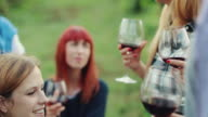 Women together relaxing with a red wine glass in Italy video