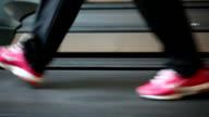 women useing Treadmill, running video