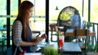 Women using pad and having Breakfast in cafe video