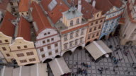 Wonderful mansions at Old Town Square in Prague - aerial view video