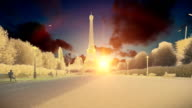 Wonderful view Eiffel Tower in Paris at sunset, chalk look video