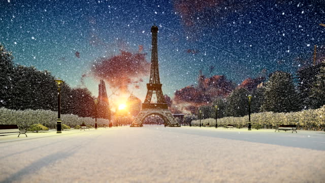 Wonderful view Eiffel Tower in Paris at sunset, snowing video