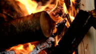Wood burning fire with rolling focus video