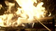 SLO MO CLOSE-UP Wood burning video
