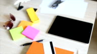 Wood desk and office supplies video