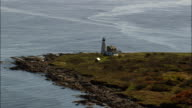 Wood Island Lighthouse  - Aerial View - Maine,  York County,  United States video