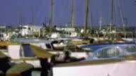 1958: Wood paneled yacht boats in harbor marina docking waters. video