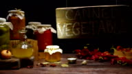 Wood sign in canned vegetable shop video