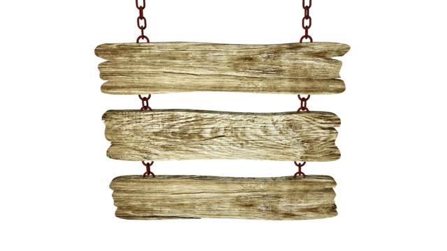 Wood sign on the chain video with Alpha channel video