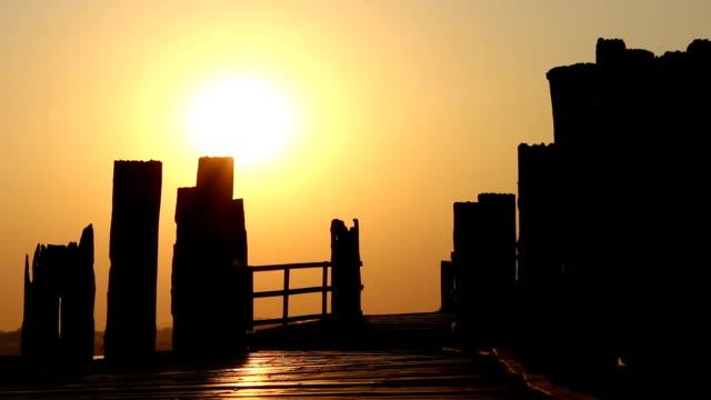 Wooden Bridge in Sunset video