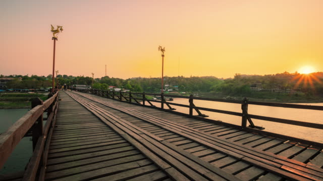 Wooden bridge over the river (Mon Bridge) at Sangklaburi District, Kanchanaburi, Thailand. video
