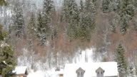 wooden cabin in snow video