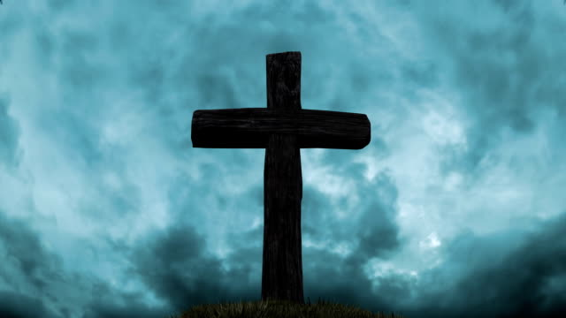 Wooden cross on top of the hill. video