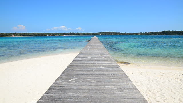 Wooden Dock on the Beach at the Island video