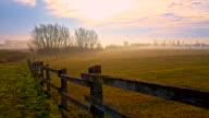 Wooden fence around the pasture video
