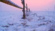 WS DS Wooden Fence At The Field In Snow video