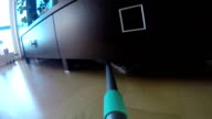 Wooden floor cleaning with modern broom with wet mop at home video