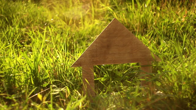 Wooden house model stands in the green grass video