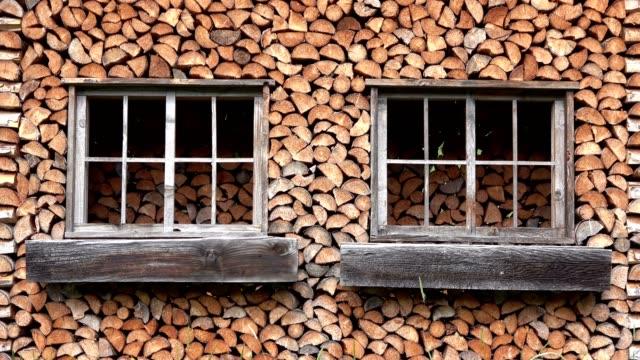 Wooden hut, cabin, firewood, wood, Bad Hindelang, Allgäuer Alpen, forest, 4K video