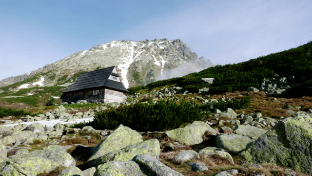 Wooden hut in mountains video