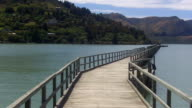 Wooden pier in Lyttelton Harbour Christchurch New Zealand video