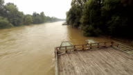 AERIAL Wooden Raft On The Flooded River video