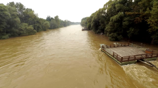 AERIAL Wooden Raft On The Mur River video