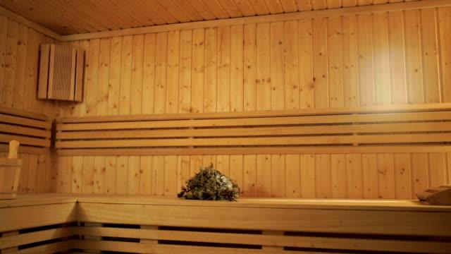 Wooden sauna interior video