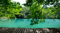 Wooden terrace on the turquoise lake video