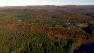 Woods Alongside the Connecticut River  - Aerial View - New Hampshire,  Sullivan County,  United States video