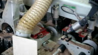 Woodworking mechanism. Circular sawing machine video