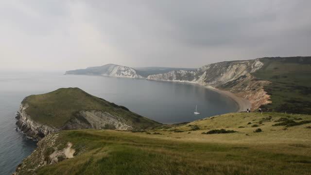 Worbarrow Bay east of Lulworth Cove on the Dorset coast England uk video