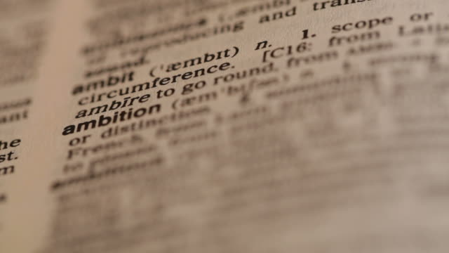 Word 'ambition' in the dictionary video