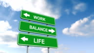 Work life balance signs against blue sky video