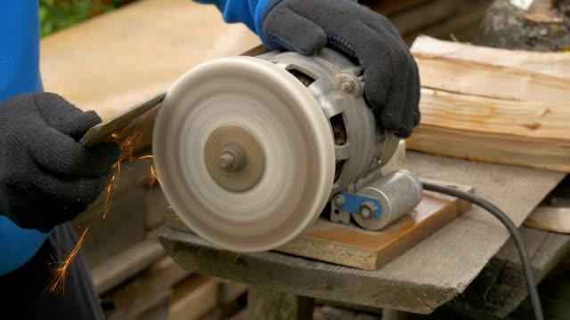 Work on a sharpening machine. video