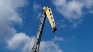 Work port crane on the sky background video