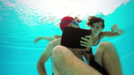 Workaholic man underwater: come up! video
