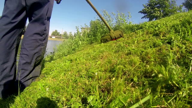 Worker Cutting Grass video