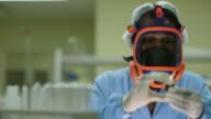 Worker, employee, staff member, technician, woman working in scientific lab video