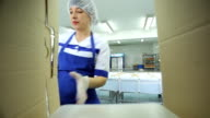 A worker folds a ready-made lunch boxes in a cardboard box, inside view video