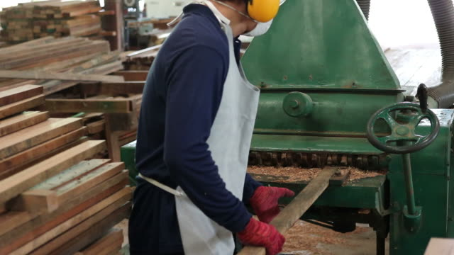 Worker is working with heavy duty wood thickness planer machine. He is wearing safety equipment in factory. video