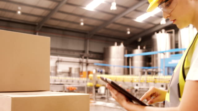 Worker maintaining record on digital tablet while cardboard boxes video