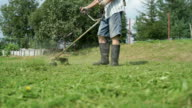 Worker mowing a grass using trimmer outdoors video
