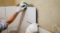 Worker tiler puts ceramic tiles on a wall video