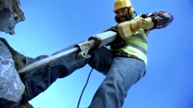 Worker Using A Jackhammer (Super Slow Motion) video